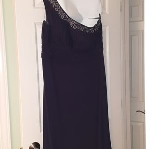 A dark plum colored dress